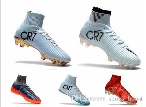0c047a686 2019 Hot Sales Original Cristiano Ronaldo Mercurial Superfly V FG CR7  Football Boots Golden Soccer Shoes Mens Training Sneakers Soccer Cleats  From ...