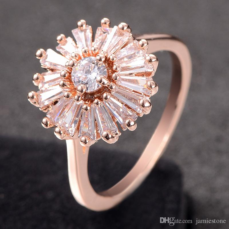 Bulk Fashion Jewelry China Simple Design Engagement Ring cz Diamond Flower Ring