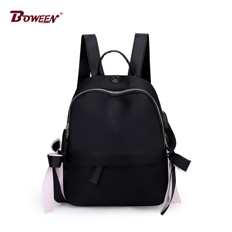 USB Nylon Backpack Women Bag Black Solid Bagpack For Girl Teenager School  Bags Back Pack Female Preppy Style 2018 Best Laptop Backpack Wheeled  Backpacks ... 97b03ba6635a