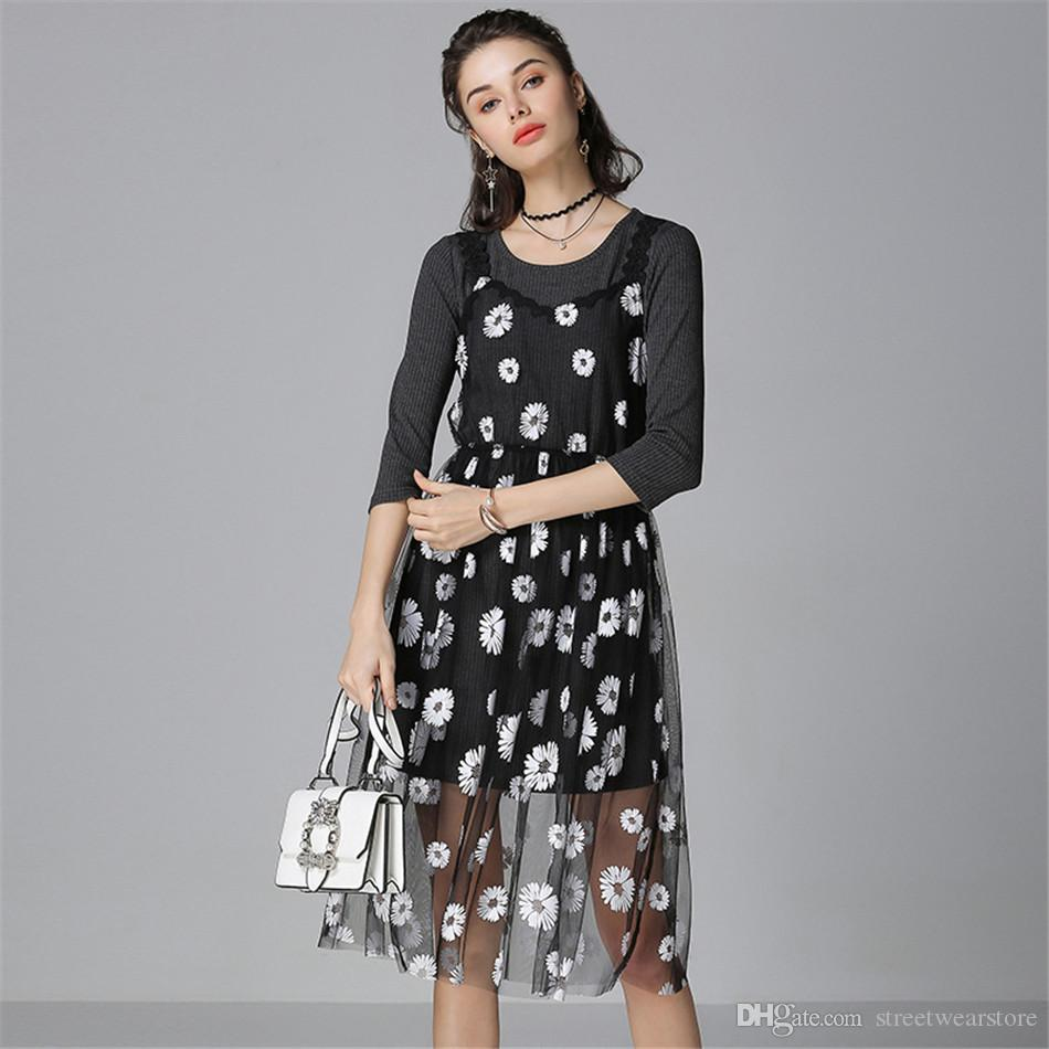 Plus Size 5xl Floral Print Dress Women Two Piece Set Sweater Dress