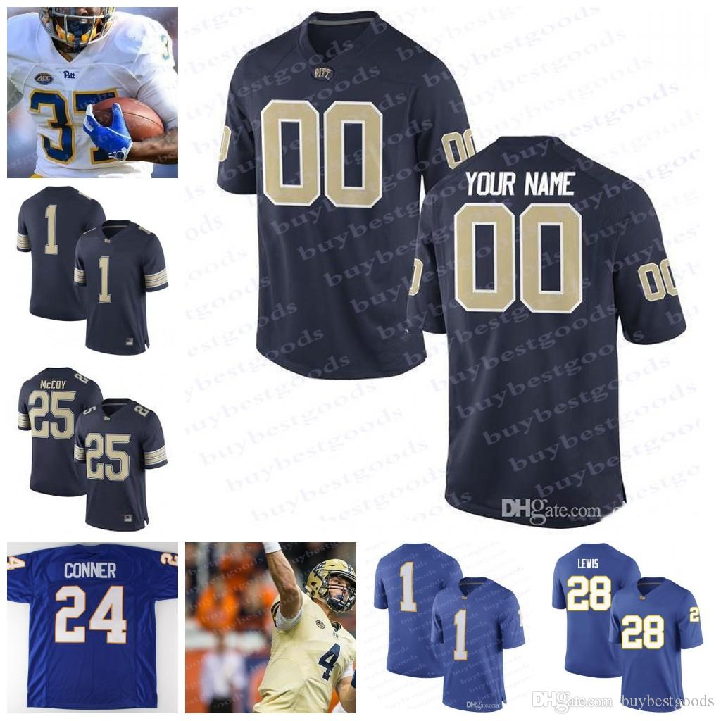 new concept dcd47 020cd Custom Pittsburgh Panthers Pitt College Football White Blue Gold  Personalized Stitched Any Name Number #1 Larry Fitzgerald 25 LeSean McCoy