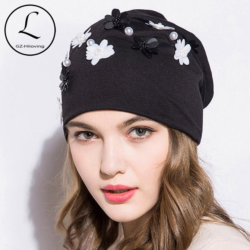 9fc963ce8c5 GZHILOVINGL 2018 New Spring Winter Women Ladies Solid Color Skullies And  Beanies Womens Girls Slouchy Pearl Flower Beanies Hat Baby Hat Crochet Baby  Hats ...