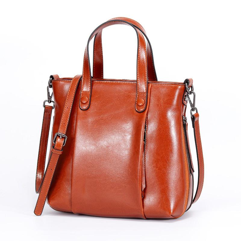 d59191b6cc3 Newest Oil Wax Cow Leather Women Shoulder Bag Retro Handbags Famous Brands  Ladies Cowhide Tote Bag Female Crossbody Bags Brown