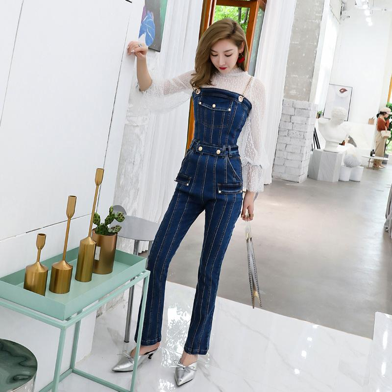 a9acca5c89ea 2019 Women Off Shoulder Jeans Jumpsuits Romper Female Sexy Metal Chain  Spaghetti Strap Denim Jumpsuits Ladies One Piece Boot Cut Pant From Beenlo