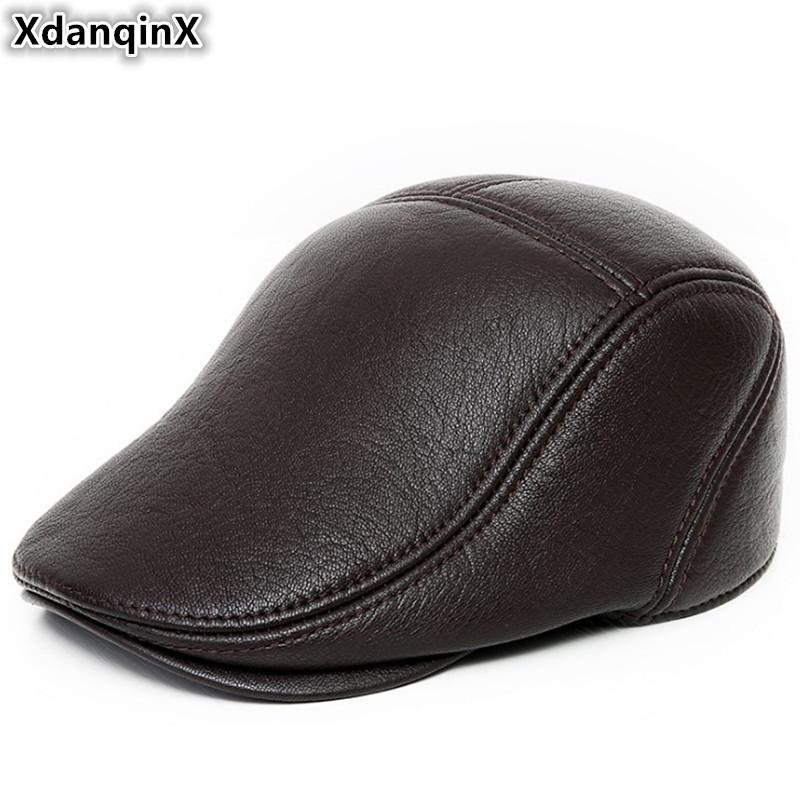 f301957f88426 XdanqinX Genuine Leather Hat Autumn Winter New Style Men s Sheepskin ...