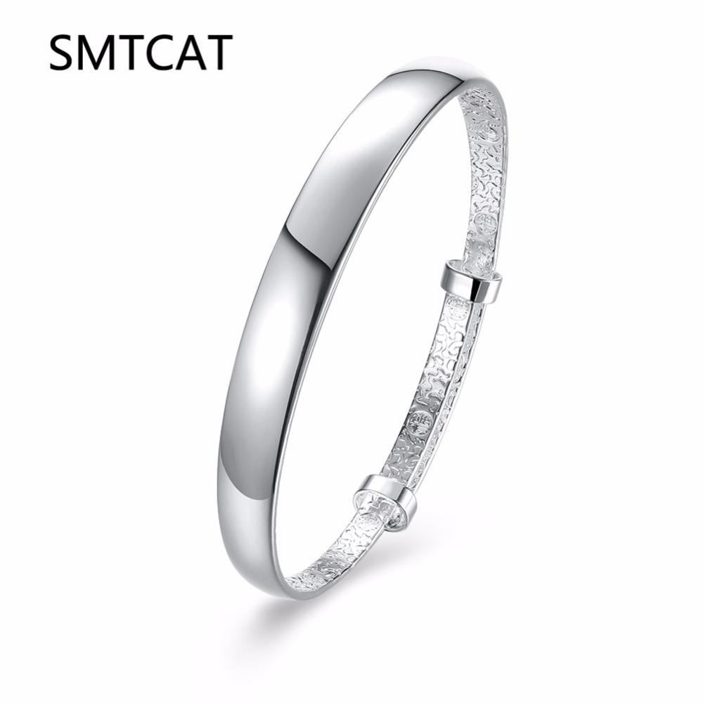 2019 New 925 Silver Lovers Simple Fashion Bracelet 28mm Big Smooth Opening Women Men Bangle Gift Jewelry Bracelets & Bangles
