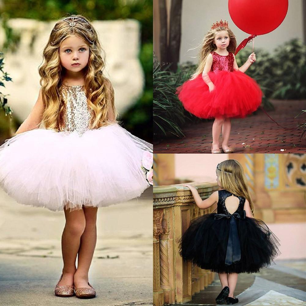 cd145c804 Vestido de niña de moda Niño Niño Niña Corazón Lentejuelas Fiesta Princesa  Tutu Vestido de Tul Trajes Moda Vestidos sin mangas