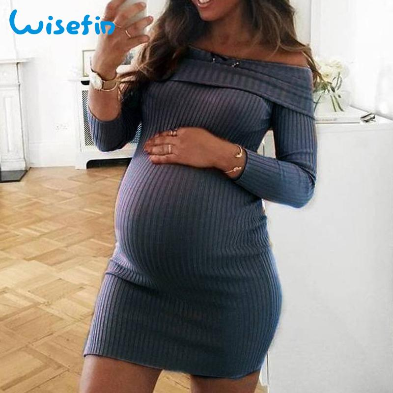 477f239eccd10 2019 Wisefin Off Shoulder Maternity Dresses Long Sleeve Pregnancy Clothes  Autumn Pregnancy Dress Pregnant Sweater Dress Vestidos Robe From Hanlley,  ...