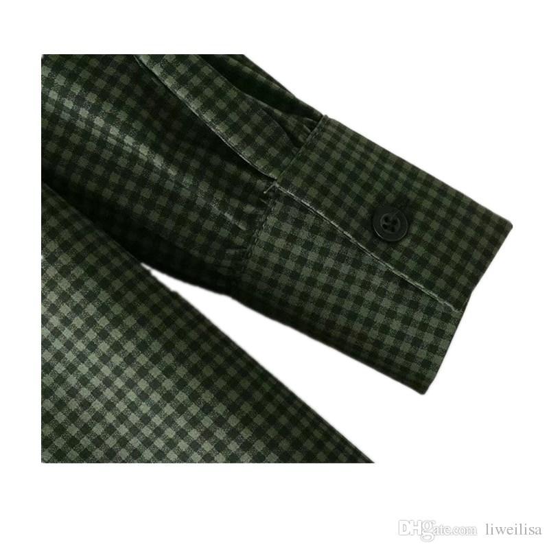 여성 격자 무늬 프릴 로우 하이 로우 셔츠 비대칭 블라우스 그린 클래식 쇼트 프론트 롱 백 플리츠 드 레디 탑 블라사 카미 사