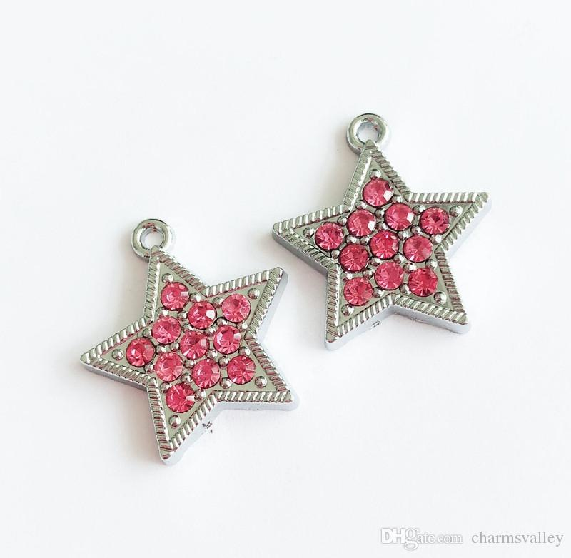 10pcs Hot Pink Full Rhinestone Star Charms Hang Pendants DIY Accessories Fit Keychain tags, Belts, bracelets, necklaces