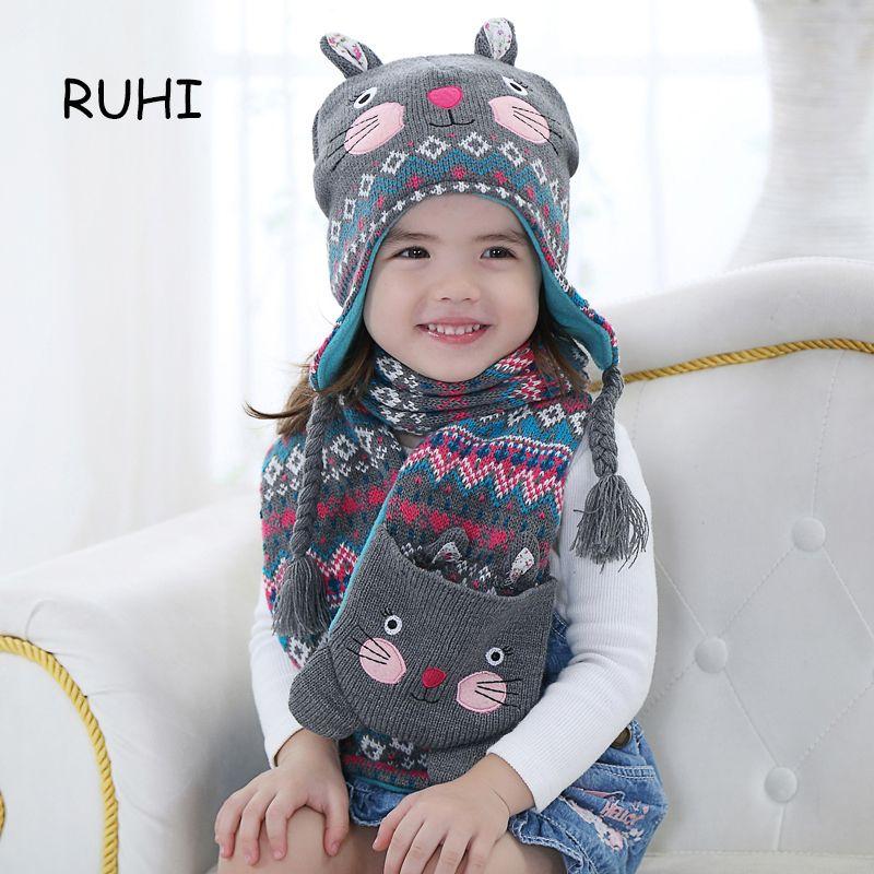 07368c270 2017 Newborn Girl Hat Kids Baby Rabbit Print Hats Handmade Crochet ...