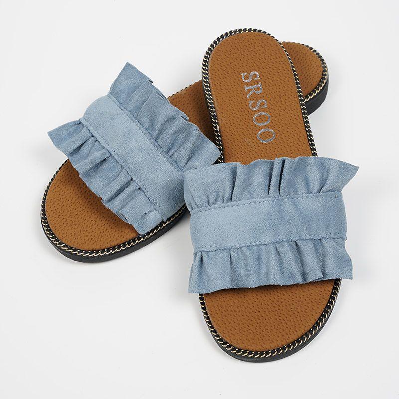 Senza frizione Scarpe estive donna Bellezza Pantofola Pantofole in pelle scamosciata con pizzo nero Fungus Sandali da spiaggia donna casual i