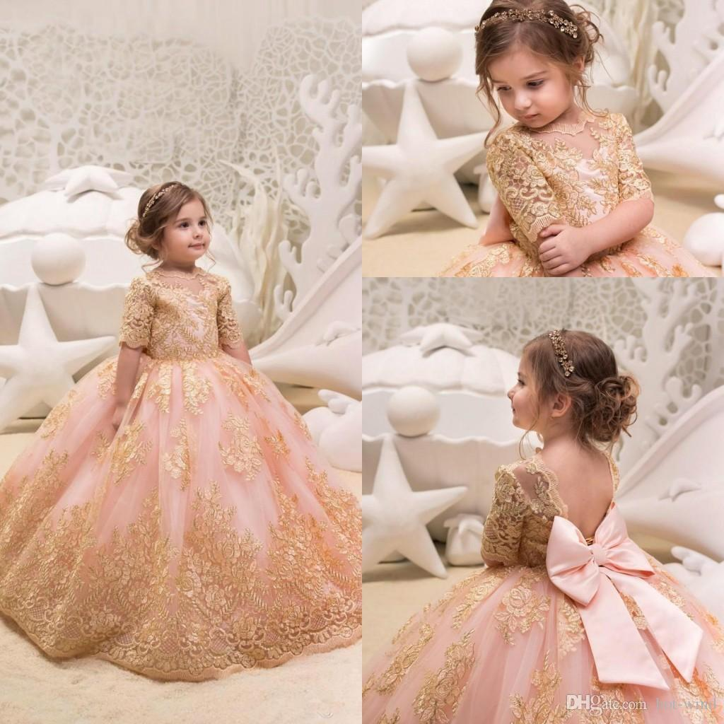 15813d8b65 2019 Princess Half Sleeves Gold Lace Appliqued Flower Girls  Dresses Bow  Sash Organza Girls  Party Pageant Birthday Party Dress BC0100