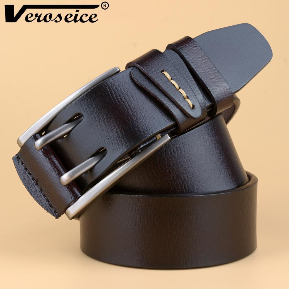 [Veroseice] Hot Sale Double Pins Buckle Cinturón de cuero genuino Cinto Ceinture cuero de vaca de lujo vaqueros para hombre Vaqueros Cinturones para hombres