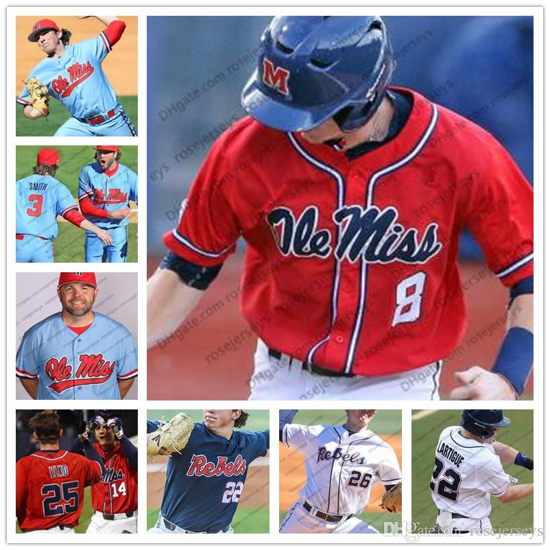 the latest dd4d1 e3a51 Custom Ole Miss Rebels 2019 Baseball White Red Blue Stitched Any Number  Name #2 Ryan Olenek 13 Zack Cozart 22 Ryan Rolison Jersey
