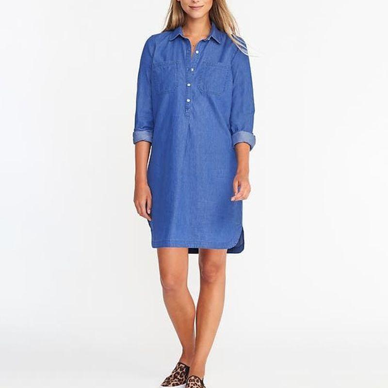Oversized denim shirt dress plus size