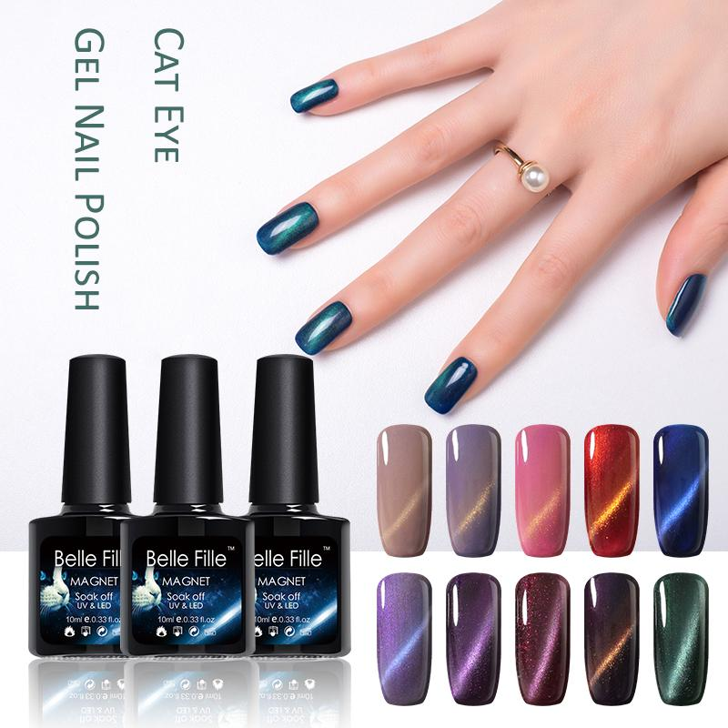 c2214f2b8c5 BELLE FILLE Cat Eye UV Gel Nail Polish Professional Nail Gel Lacquer Varnish  Agate Red Sapphire Blue Brown Color Gel Manicure At Home Gel Nails Problems  ...