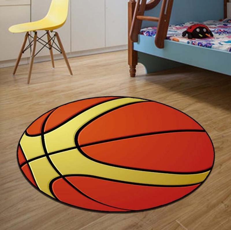 60 80cm Round Carpets Sport Basketball Print Carpet Anti Slip Rugs