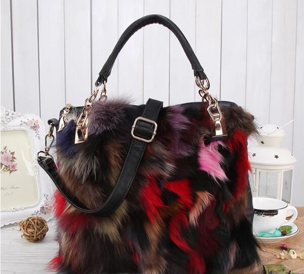Block Decoration Women S Fox Fur Handbag Portable Women S Multi Color Fur  Bags Shoulder Bag Lady S Tote Bag Messenger Bags For Women Leather Satchel  From ... e0765b8d8edf4
