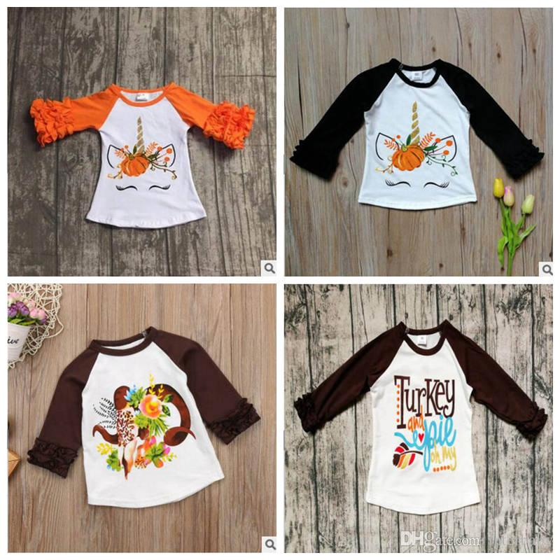 6f0f26e4022 2019 Baby Unicorn T Shirts Kids Thanksgiving Day Clothing Ruffled Sleeved  Shirt Designer Printed Tees Fashion Casual Raglan Shirts YL321 1 From  Interbaby