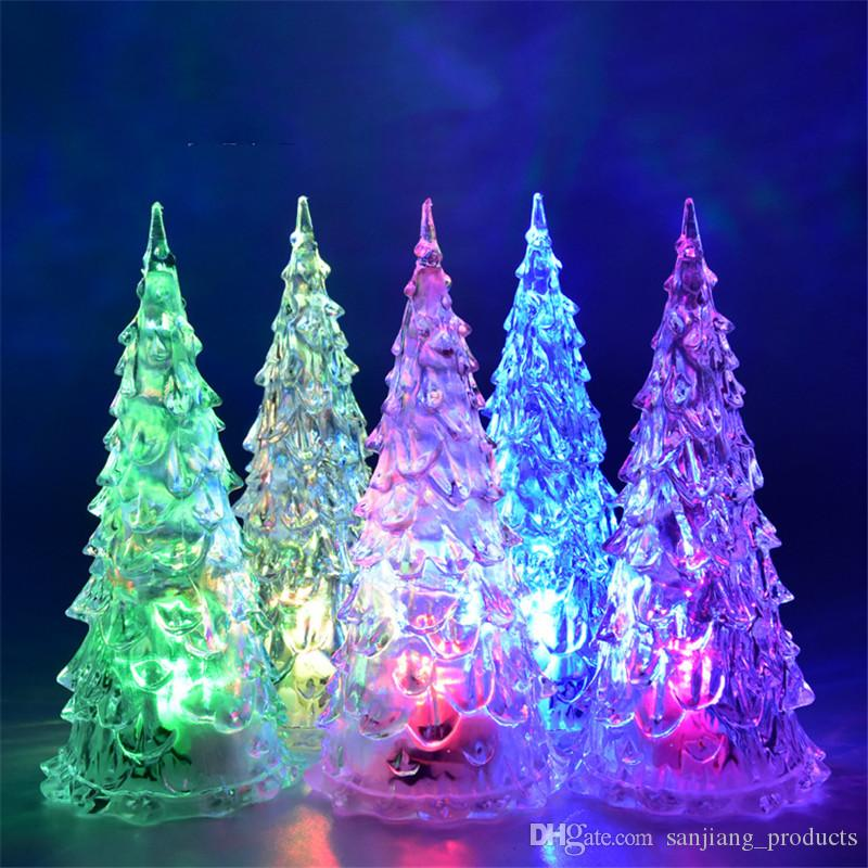 mini christmas tree led lights crystal clear colorful xmas trees night light new year party decora flash bed lamp ornament club cosplay hot anime costume