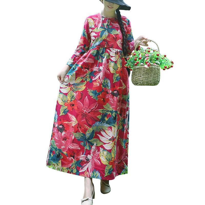 1879a739ae23 Compre Mulheres Vestido De Linho De Algodão Floral Do Vintage Impressão  Manga Comprida Vestido De Praia 2018 Boho Solto Longo Maxi Vestido Azul  Escuro ...