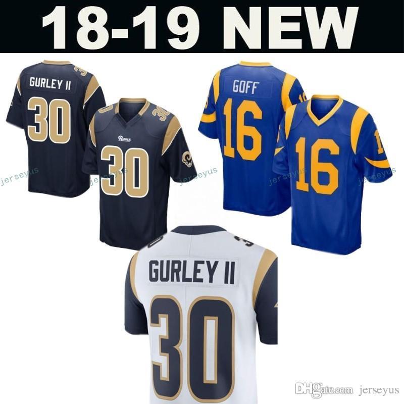 ... 2018 rams 30 todd gurley ii 99 aaron donald 16 jared goff jersey men  los angeles c738942bb