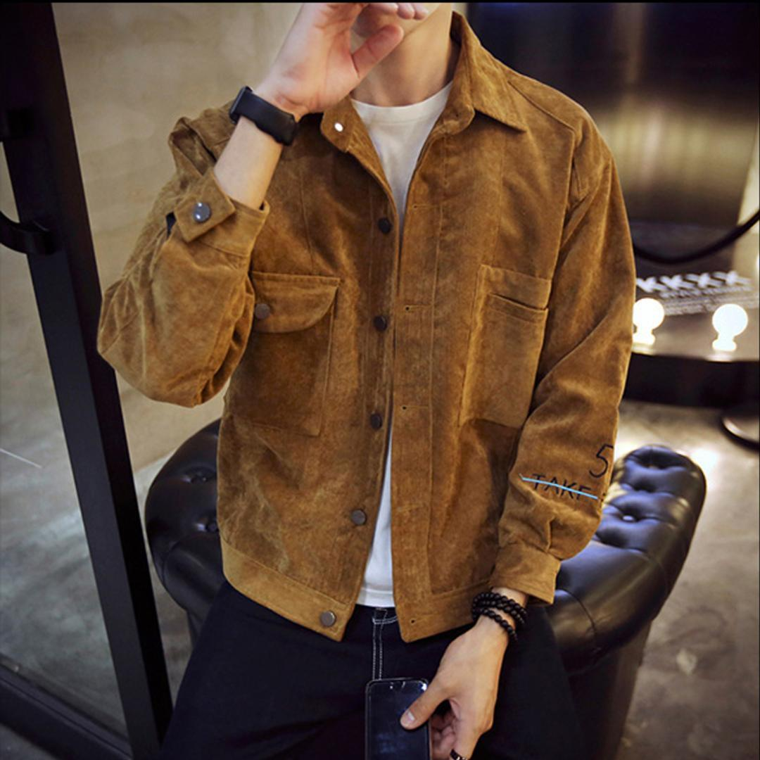 78bd82979ad 2017 Spring Autumn Hot Corduroy Jackets Men Long Sleeve Turn Down Collar  Slim Solid Bomber Jacket Gray Brown Khaki Outwear Coats Jeans Jackets Cheap  Leather ...