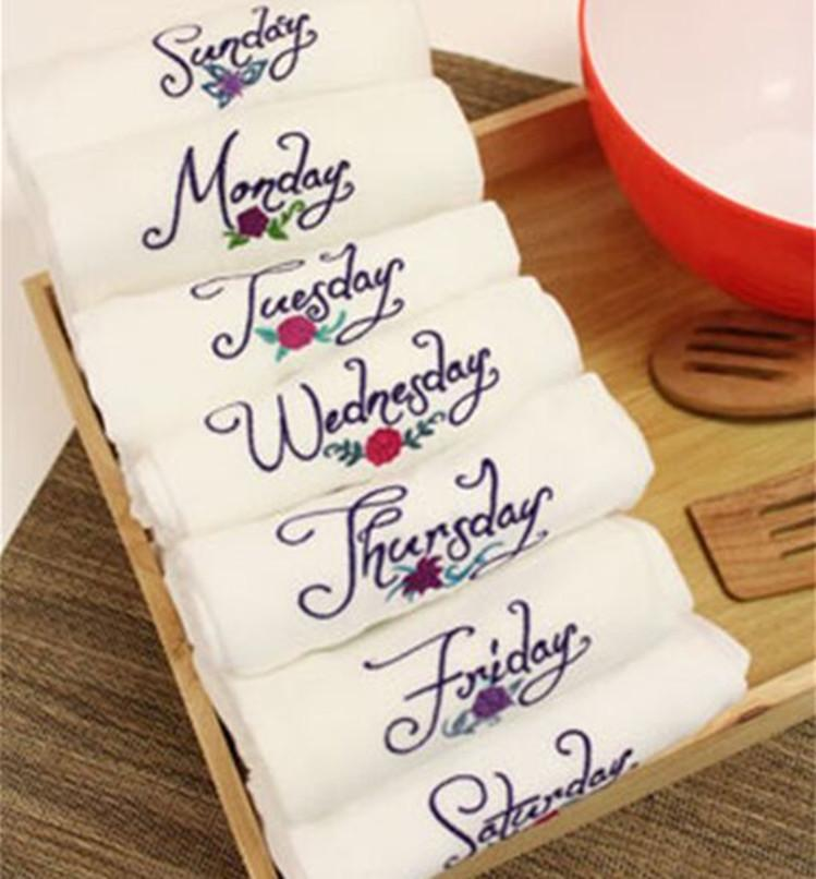 wholesale new product Monday to Sunday week series embroidered textiles  napkins home style placemats napkins