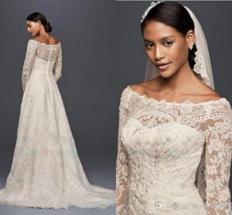 Discount 2018 Oleg Cassini Modest Wedding Dresses With