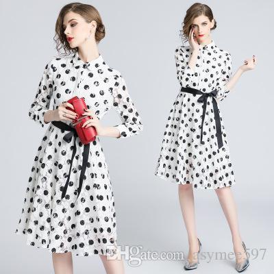 0ba36632fc Compre Moda Polka Dot Impressão Vestidos Das Mulheres