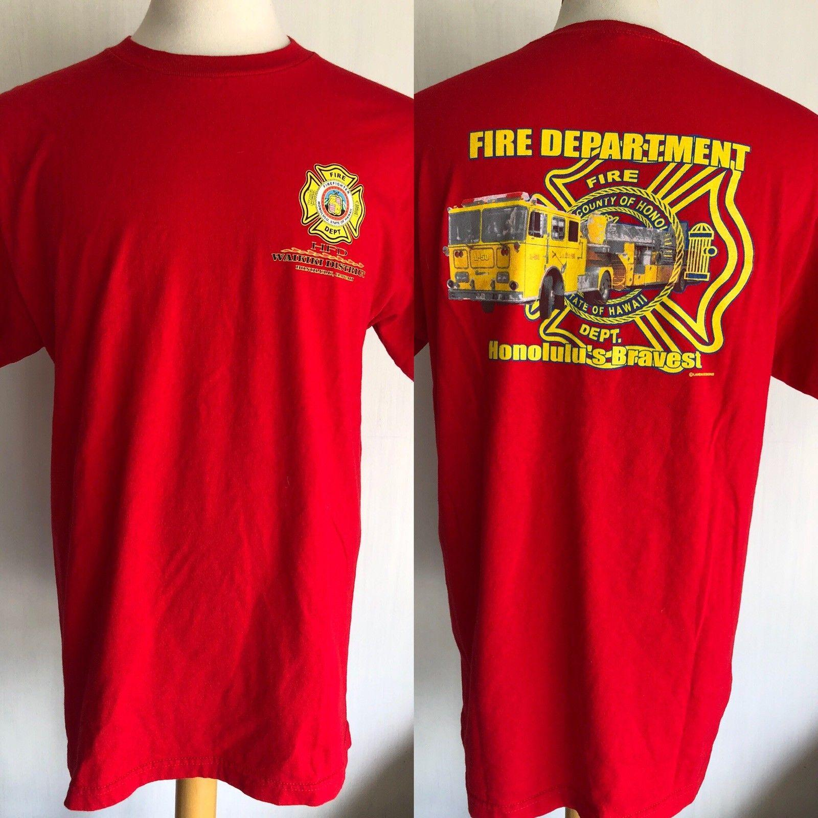 Waikiki Honolulu Hawaii Hfd Official Fire Department T Shirt Size