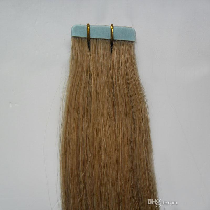 Tape In Human Hair Extensions 27 honey blonde 100G 10 to 26 Inch Non Remy Straight Brazilian Hair On Invisible Tape PU Skin Weft