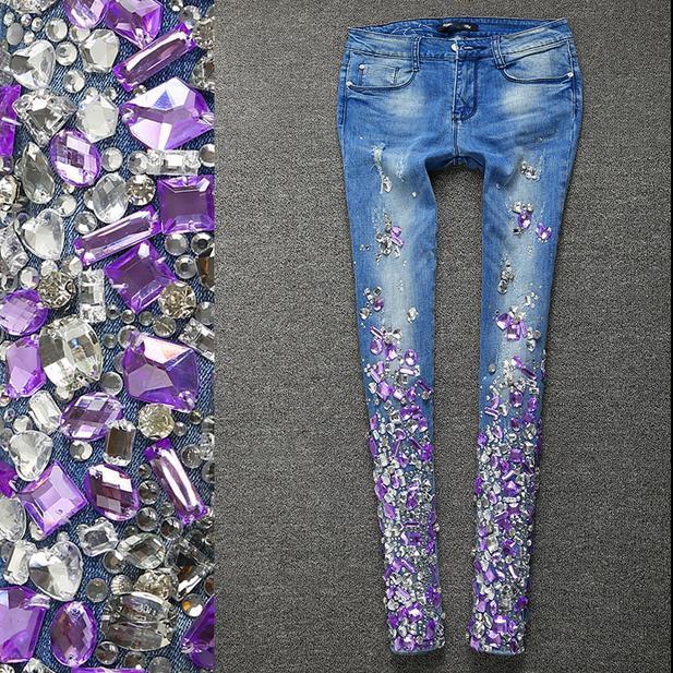 dd101280d7e1 Женщины серебряные джинсы со стразами блестками джинсы с Кристалл Алмаз  тощий ...
