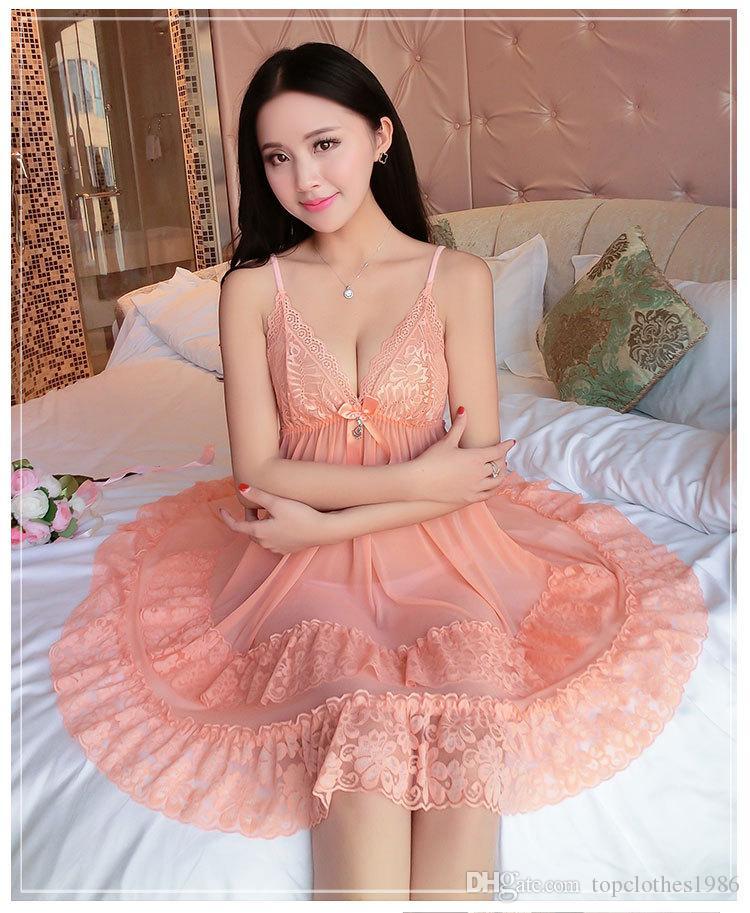 Yüksek kalite Yeni kadın şeffaf Dantel Sexy lingerie V Yaka Artı Boyutu M-3XL Seksi Pijama kadın Babydoll Iç Çamaşırı Samimi gecelik