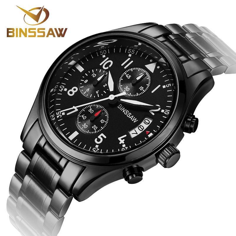 50f7dc394d2 Compre X Binssaw New Men Militar Relógios Originais De Negócios De Moda De  Luxo De Aço Inoxidável Esportes Luminosos Relógio De Quartzo Relogio  Masculino De ...