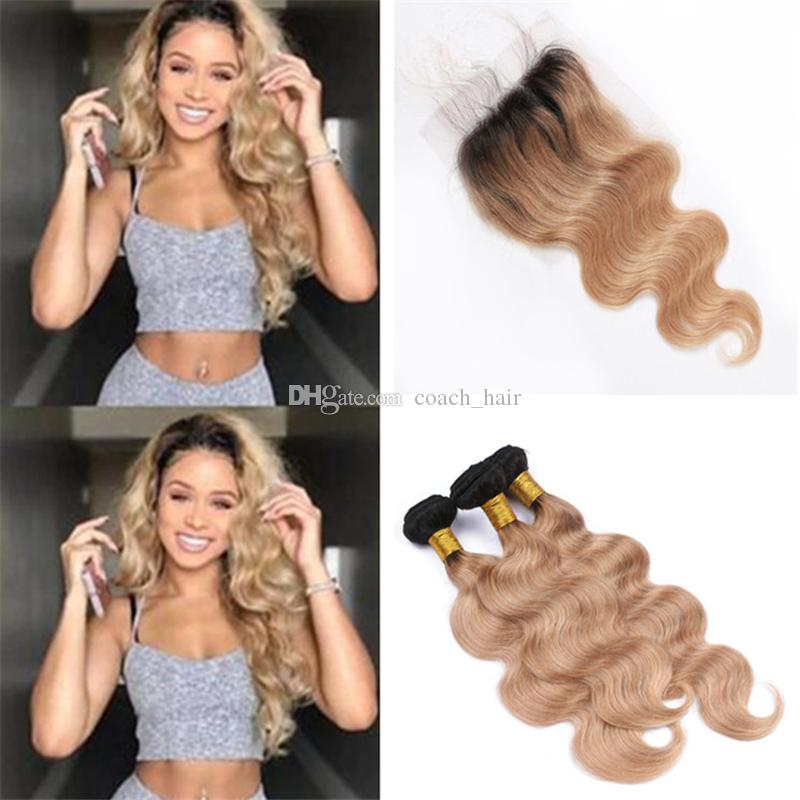 2018 8a Peruvian Honey Blonde Ombre Hair Weaves With Closure 1b 27