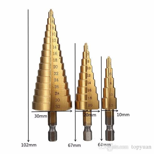 4-12 / 20 / 32mm HSS 티타늄 스텝 콘 드릴 비트 헥스 섕크 홀 커터