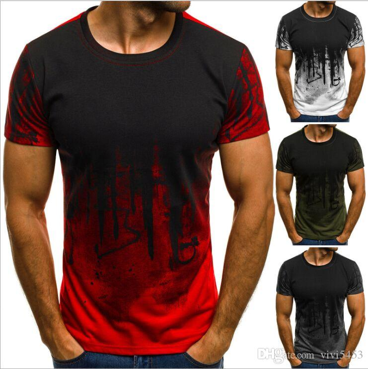 4f24249c4ec new European and American men's fashion sports fitness camouflage  short-sleeved T-shirt summer personality printing T-shirt maleTops Tees (G