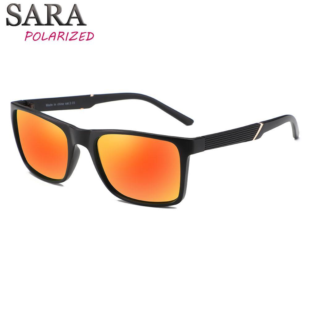 Compre Lente Laranja Óculos De Sol Dos Homens Polarizada Quadrado Preto  Quadro Masculino Condução Ao Ar Livre Óculos De Sol Lentes Gafas De Sol  Hombre ... 0043d3d22a
