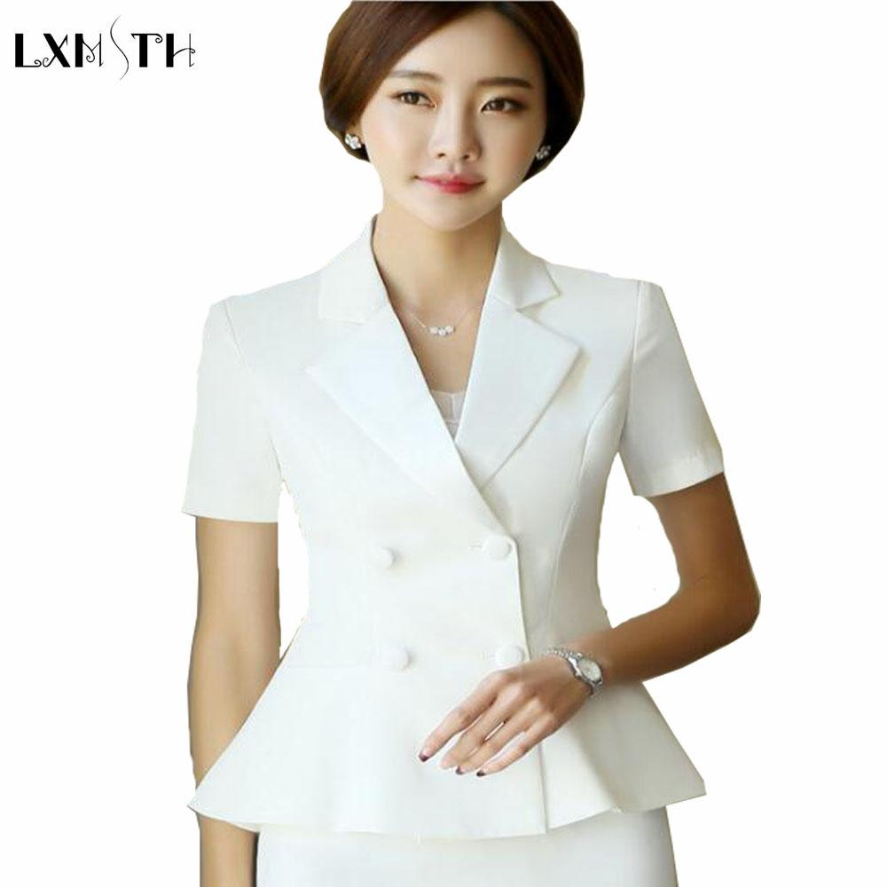 2019 Summer Women Ladies Suit Jacket OL Formal Short Sleeve Blazer Double  Breasted Woman Work Office Slim Blazers Feminino Plus Size From Macloth 5b759885334e
