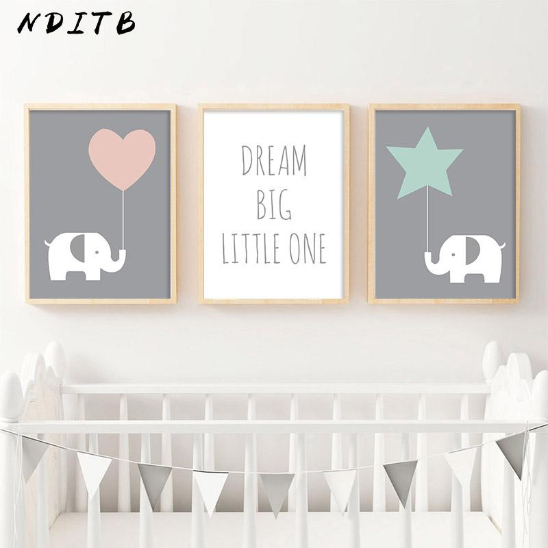 Baby Nurseries 2019 2019 NDITB Baby Girl Nursery Decor Wall Art Canvas Posters And Prints  Elephant Painting Decorative Picture Kids Bedroom Decoration From Harriete,  ...
