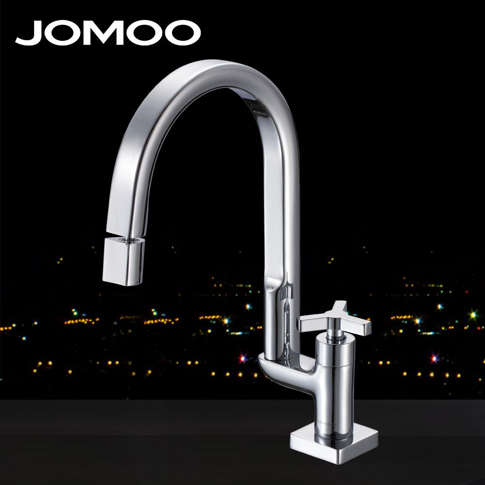 2019 Jomoo Deck Mounted Brass Chrome Finish Kitchen Faucet Single