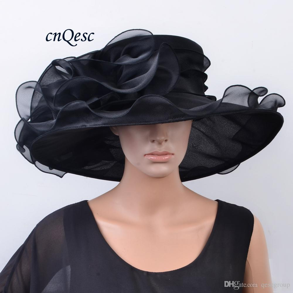 167a553353e NEW ARRIVAL Large Brim Crystal Organza Hat BLACK Church Hat Fedora ...