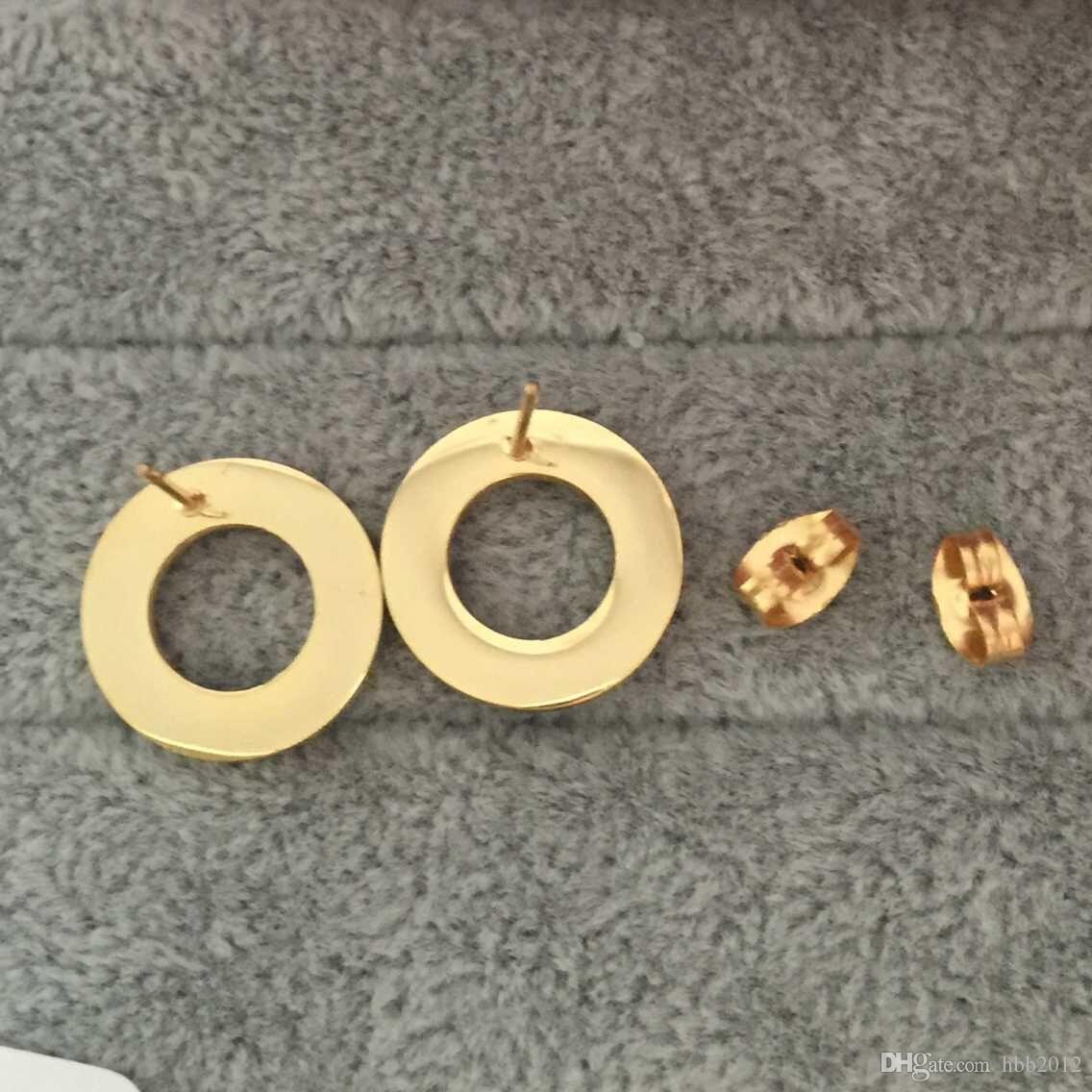 Chegada nova Alta Qualidade Famosa Design de Jóias de Moda de Aço Inoxidável Estilo de Luxo Banhado A Ouro Brincos Do Parafuso Prisioneiro Para Mulheres Dos Homens