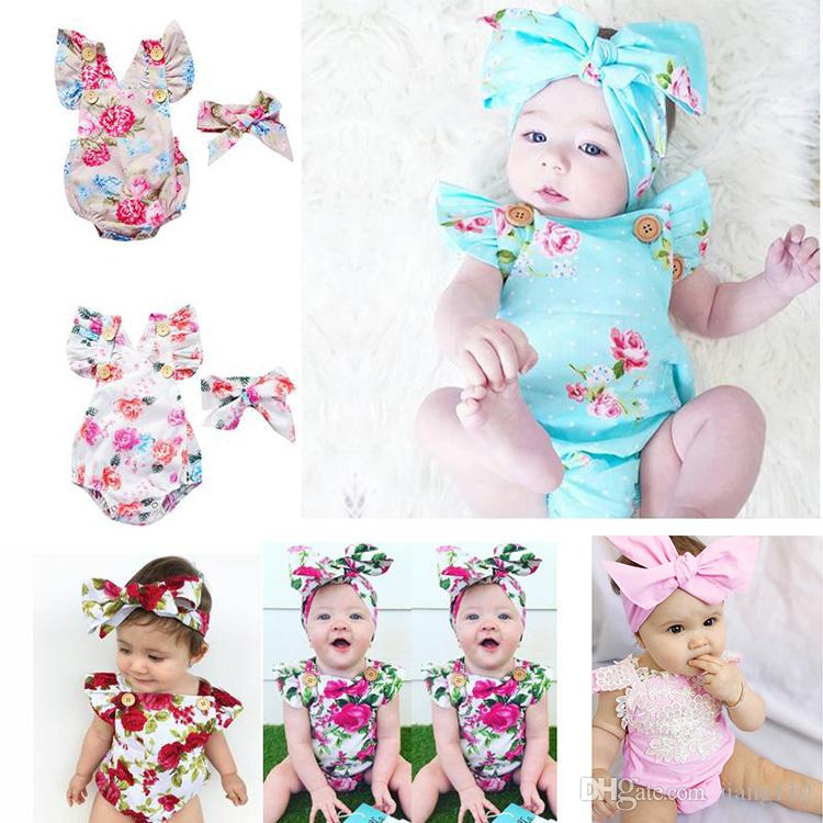 8e46f3a6afad 2019 6 Styles Infants Baby Girl Floral Rompers Bodysuit With ...