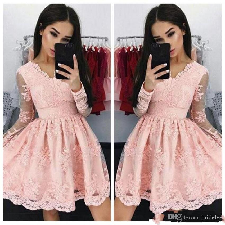 Beautiful Pink Lace With Appliques Homecoming Dresses Long Sleeve V