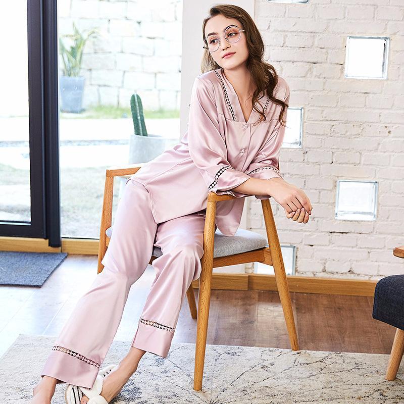 2019 Spring New Pajamas 2018 Brand Women Pyjamas Home Suits Satin Silk V  Neck Sleepwear Sexy Full Sleeve Long Pants Pajama Set Spring From Tanggo 05fb2f91a