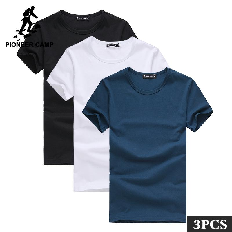 9960d12ab51 Pioneer Camp Pack of 3 Promoting Short Sleeve T-shirt Men Brand Clothing  Summer Solid T Shirt Male Casual TeesY1882201 Online with  63.15 Piece on  ...