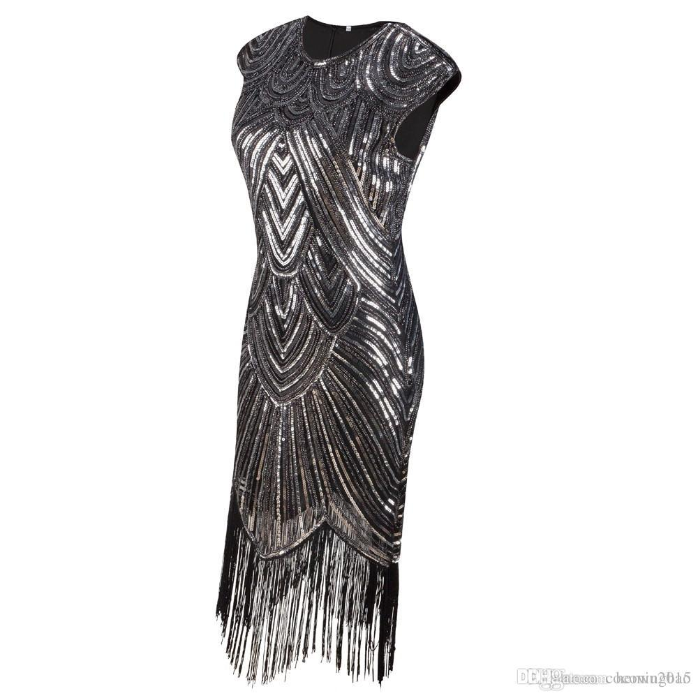 Summer Vintage 1920s Flapper Great Gatsby Sequin Fringe Party Dress ...